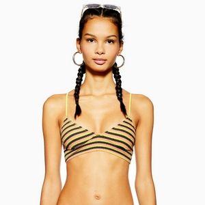 TOPSHOP Textured Striped Crop Bikini Top Only NWOT